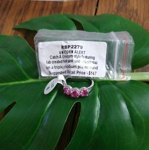 Hot pink and White topaz ring